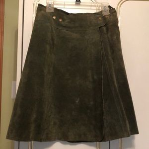 Dresses & Skirts - Green suede snap leather wrap skirt M